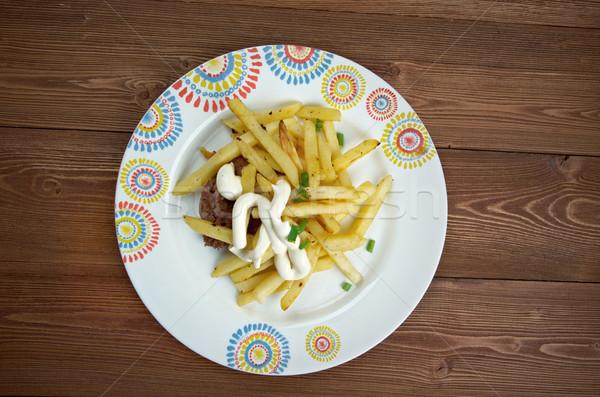 At nalı sandviç et ekmek patates kızartması web Stok fotoğraf © fanfo