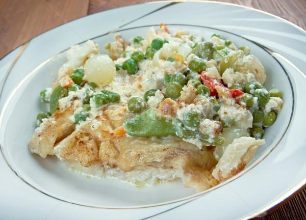 白 魚 伝統的に ソース 赤 食べる ストックフォト © fanfo
