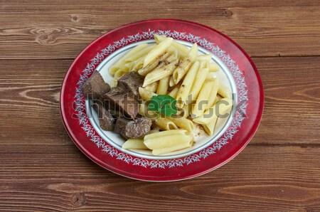 Pasta carne di maiale fegato cucina italiana alimentare Foto d'archivio © fanfo