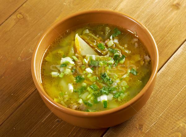 Сток-фото: русский · суп · мяса · обед · Pearl · огурца