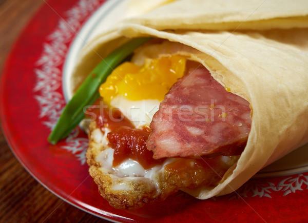 Pita chleba turecki jaj kiełbasa Zdjęcia stock © fanfo
