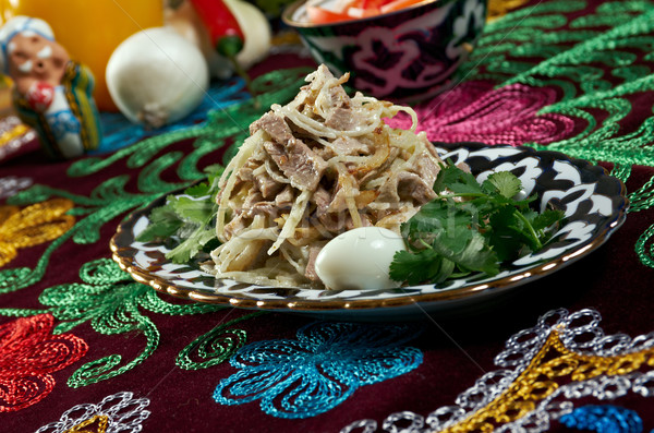 Uzbek beef salad -Central Asian cuisine Stock photo © fanfo
