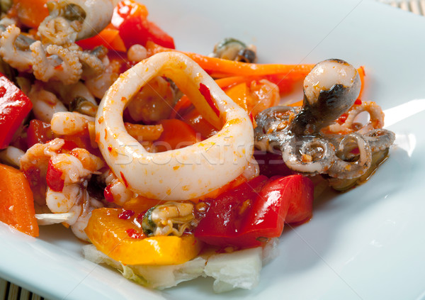 Salata deniz gıda balık restoran Stok fotoğraf © fanfo