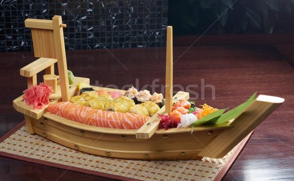 Stock fotó: Szusi · japán · étel · hajó · hagyományos · hal · étterem