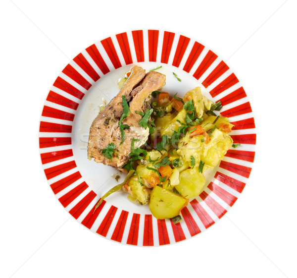 Trucha patatas alimentos peces carne Foto stock © fanfo