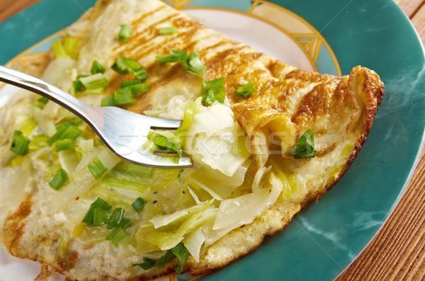 Taze pırasa geleneksel fransız yumurta Stok fotoğraf © fanfo