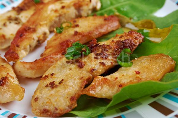 Tavuk kızartma mutfak malzemeler balsamik sirke karanfil sarımsak Stok fotoğraf © fanfo
