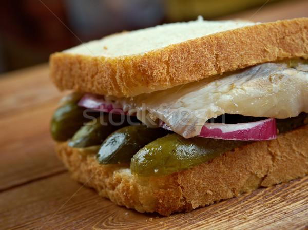 Szendvics hal északi Németország előkészítés kenyér Stock fotó © fanfo