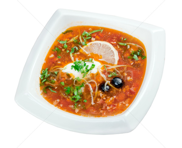 thick soup of vegetables and meat - solanka Stock photo © fanfo
