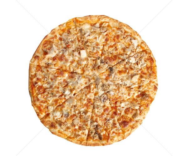 Stok fotoğraf: Pizza · tavuk · mantar · İtalyan · mutfak · beyaz