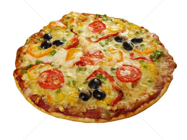 ストックフォト: ホーム · ピザ · トマト · 茄子 · クローズアップ · 孤立した