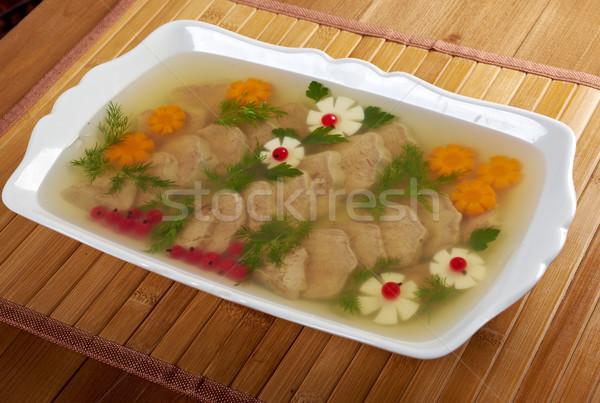 Stock fotó: Hús · díszített · tojás · sárgarépa · étel · háttér