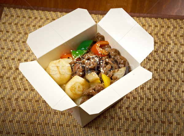 take-out food - Beef slice  and potato. Stock photo © fanfo
