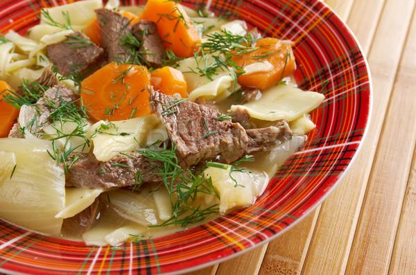 Főtt hús tészta edény ázsiai konyha vacsora Stock fotó © fanfo