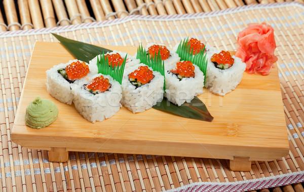 Japán szusi zsemle füstölt hal piros Stock fotó © fanfo