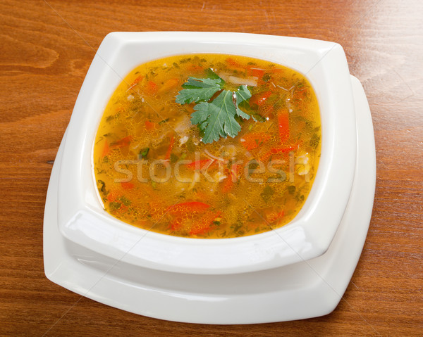.Minestrone vegetable soup Stock photo © fanfo