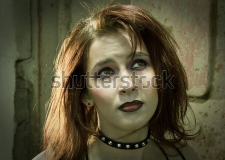 emo girl with beautiful hair Stock photo © fanfo