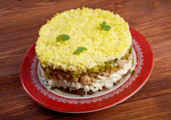 Finom saláta máj étel hal konyha Stock fotó © fanfo