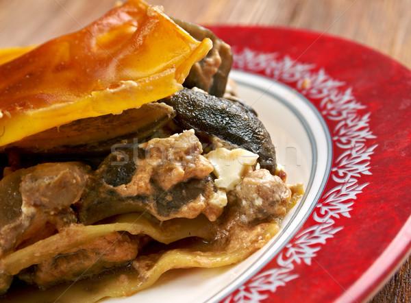 Lasagna gombák marhahús felfelé tányér ebéd Stock fotó © fanfo