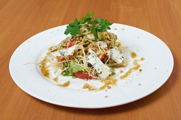 Pollo formaggio tipo gorgonzola insalata primo piano luce verde Foto d'archivio © fanfo