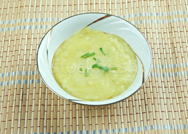 Póréhagyma leves tál fából készült eszik zöldség Stock fotó © fanfo