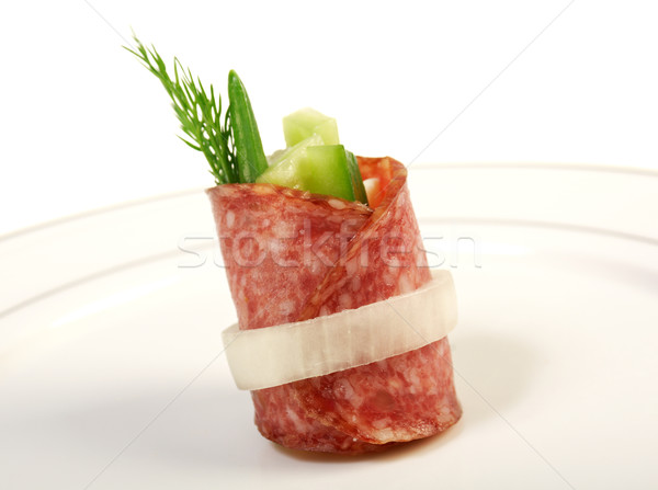 Canape platter with salami stock photo mychko alexander for Canape platters