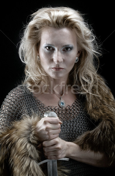 Viking girl with sword Stock photo © fanfo