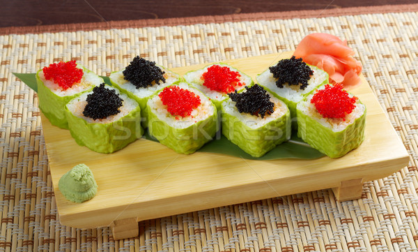 Roll made of Smoked fish and  roe Stock photo © fanfo