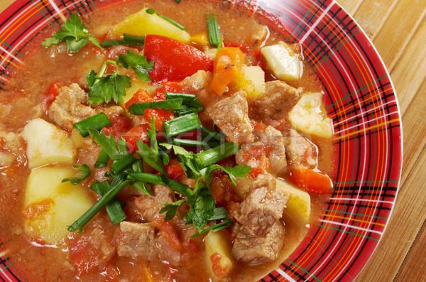 Magyar forró leves hagyományos házi készítésű étel Stock fotó © fanfo