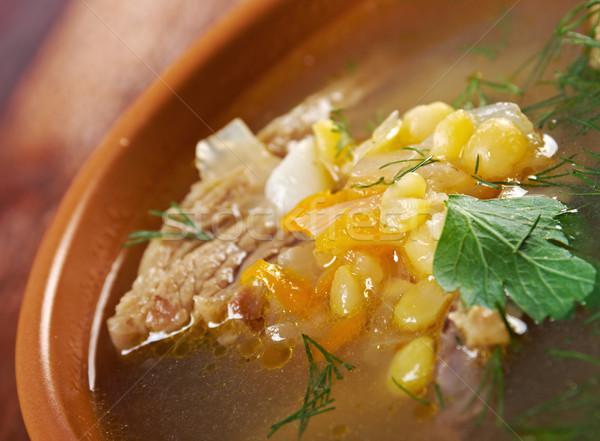 Sopa carne de vacuno verde placa vegetales Foto stock © fanfo