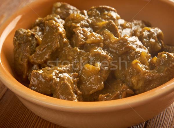 Sığır eti köri pirinç Hint basmati gıda Stok fotoğraf © fanfo