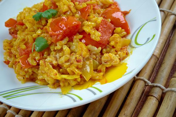 Perfumado basmati arroz exótico açafrão vermelho Foto stock © fanfo
