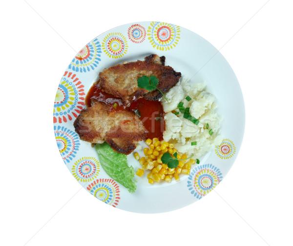 Stock fotó: Disznóhús · kotlett · háttér · hús · ebéd · zöldség