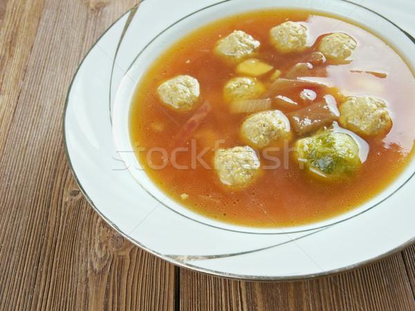 Leves húsgombócok stock edény étel edény Stock fotó © fanfo
