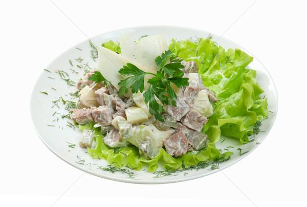 サラダ 牛肉 健康 ベジタリアン 白 ストックフォト © fanfo