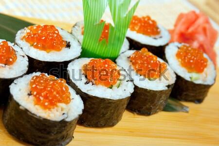 Japán szusi hagyományos füstölt hal ikra Stock fotó © fanfo
