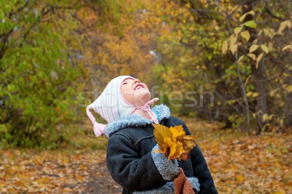 ストックフォト: 女の子 · 秋 · 公園 · 浅い · 赤ちゃん · 幸せ
