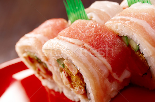 Sushi Roll with  Bacon  Stock photo © fanfo