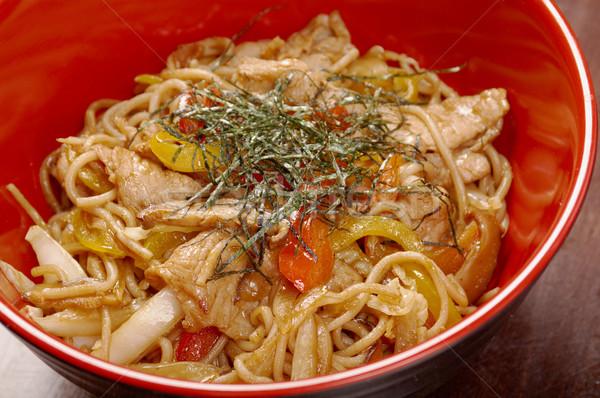 Carne de porco vegetal comida japonesa verão jantar macarrão Foto stock © fanfo