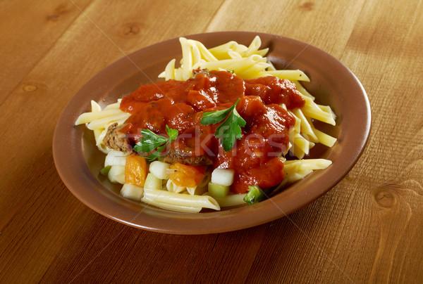 пасты томатный говядины соус деревянный стол ресторан Сток-фото © fanfo