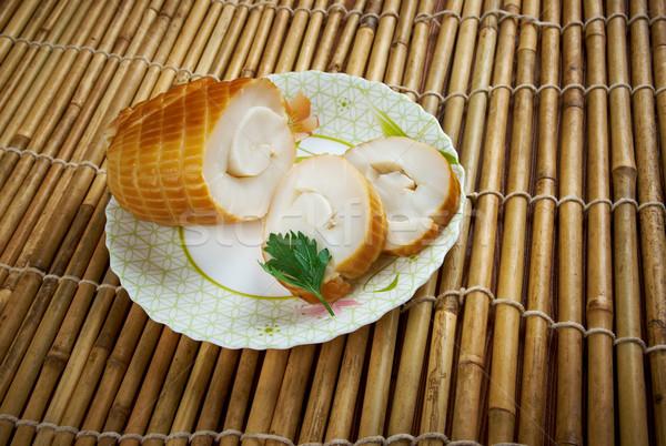 Füstölt tintahal zsemle hal egészség étterem Stock fotó © fanfo