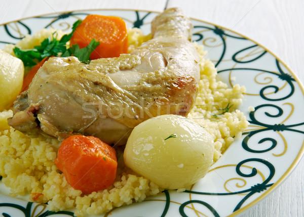 Frango couscous carne refeição oriente médio árabe Foto stock © fanfo