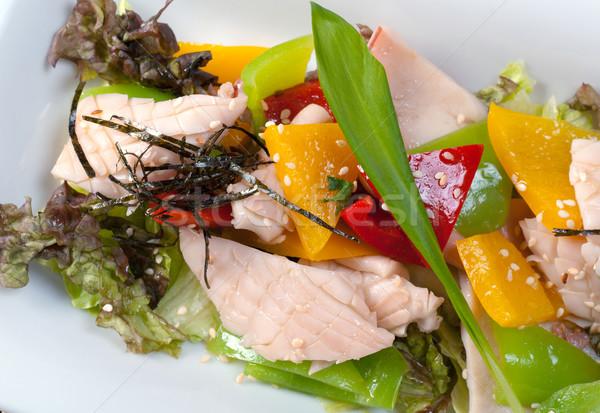 Çin tavuk salatası plaka tablo tavuk kırmızı Stok fotoğraf © fanfo