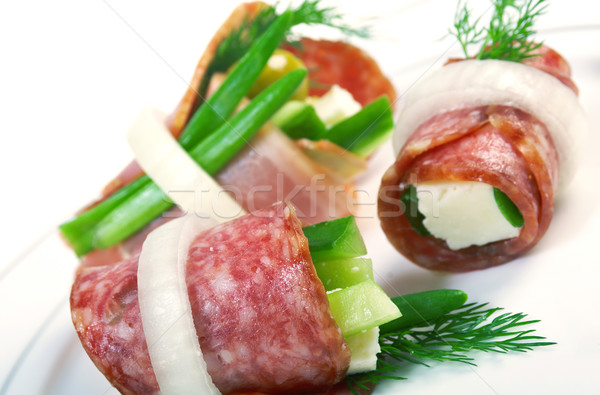 Canape platter with cheese, smoked sausage Stock photo © fanfo