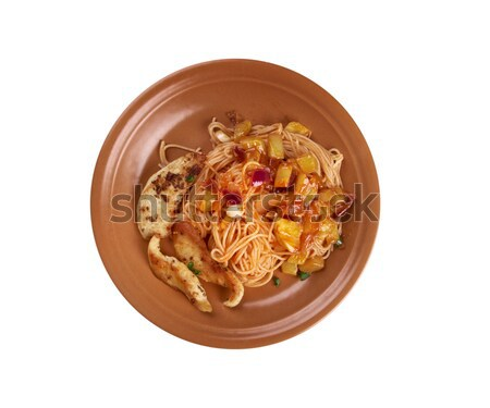 домашний спагетти куриные филе цуккини лист Сток-фото © fanfo