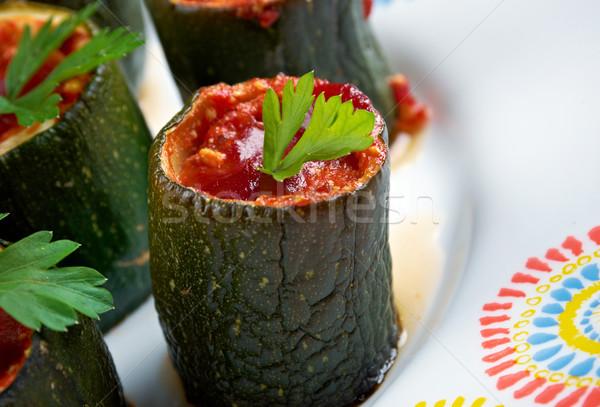 Olasz sült cukkini töltött sajt paradicsomok Stock fotó © fanfo