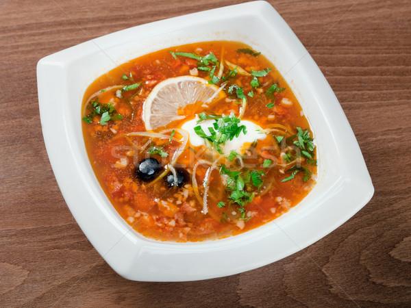 Zdjęcia stock: Zupa · warzyw · mięsa · zdrowia · tablicy · warzyw