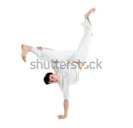 Capoeira táncos pózol fehér férfi képzés Stock fotó © fanfo