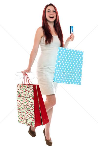 Feliz vermelho mulher animado jovem Foto stock © fantasticrabbit