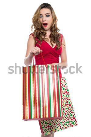 Aufgeregt Einkaufstaschen Aufregung Tasche aussehen Stock foto © fantasticrabbit